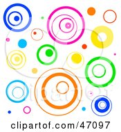 Clipart Illustration Of A Funky White Background With Retro Circles