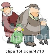 Family Going Out Together During The Winter Season Clipart