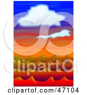 Clipart Illustration Of Red Ocean Waves Under Clouds At Sunset by Prawny
