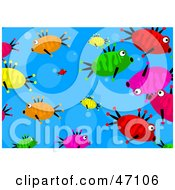Clipart Illustration Of A Bubbly Blue Background With Colorful Fish