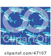 Clipart Illustration Of A Blue Background Of Swimming Sharks by Prawny