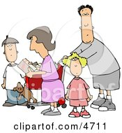 Family Grocery Shopping Together Clipart