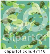 Clipart Illustration Of A Blue Background With Falling Green Leaves by Prawny