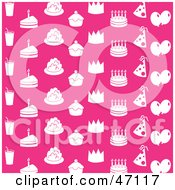 Clipart Illustration Of A Pink Background With White Drinks Cakes Cupcakes Crowns Party Hats And Balloons by Prawny
