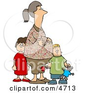 Pregnant Woman Standing With Her Son And Daughter Clipart