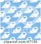 Clipart Illustration Of A Blue Background Of White Conch Shells by Prawny