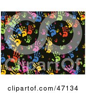 Clipart Illustration Of A Black Background Of Colorful Hands by Prawny