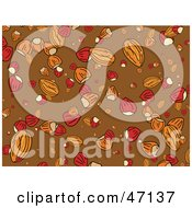 Clipart Illustration Of A Brown Background Of Nuts