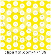 Clipart Illustration Of A Yellow Background Of White Smiley Faces
