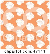 Clipart Illustration Of A Pastel Orange Background Of White Scallops by Prawny