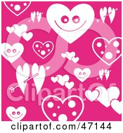 Clipart Illustration Of A Pink Valentine Background Of White Hearts And Arrows
