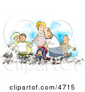 Poster, Art Print Of Happy Family Feeding Pigeons