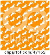 Clipart Illustration Of An Orange Background Of White Foot Prints