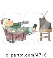 Couch Potato Man Holding The TV Remote Controller Clipart by djart
