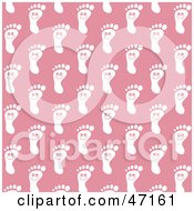 Clipart Illustration Of A Pink Background Of Happy White Foot Prints by Prawny