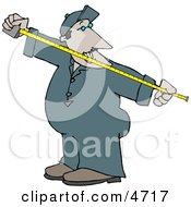 Man Measuring Something With A Tape Measure Clipart