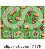 Clipart Illustration Of A Green Background Of Burgers Fries And Soda by Prawny
