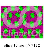 Clipart Illustration Of A Purple Background Of Happy Green Frogs by Prawny