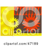 Clipart Illustration Of An Abstract Background Of Leafy Flowers by Prawny