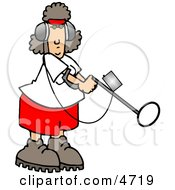 Woman Using A Metal Detector Clipart