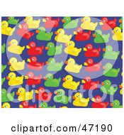 Blue Background Of Colorful Duckies