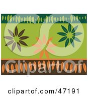 Clipart Illustration Of An Abstract Brown Orange And Green Leaf Background by Prawny