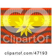 Clipart Illustration Of An Abstract Background Of Flowers And Leaf Waves by Prawny
