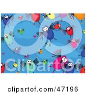 Clipart Illustration Of A Blue Background Of Crazy Birds And Clouds by Prawny