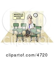 Lonely Businessman Sitting And Waiting By Himself At A Meeting Which Was Scheduled For 800 Clipart