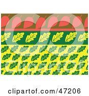 Clipart Illustration Of An Abstract Background Of Yellow Green And Pink Leaves by Prawny