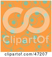 Clipart Illustration Of An Orange Background Of Turquoise Circles