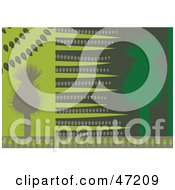 Clipart Illustration Of An Abstract Background Of Green Thistles by Prawny