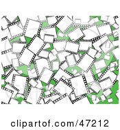 Clipart Illustration Of A Green Background Of Blank Film Frames