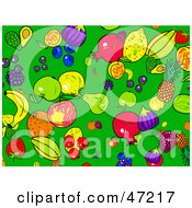 Clipart Illustration Of A Green Background Of Healthy Fruits by Prawny