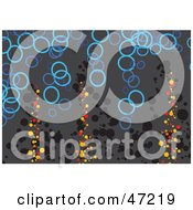 Clipart Illustration Of A Gray Background Of Blue Circles And Grunge