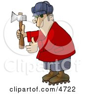 Woodsman Holding An Axe Clipart