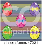 Clipart Illustration Of A Digital Collage Of Star Patterned Easter Eggs On A Striped Background by Prawny