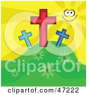 Happy Sun Smiling And Shining On Three Crosses On A Hill