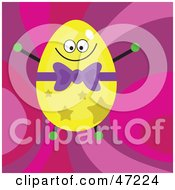 Clipart Illustration Of A Happy Yellow Star Patterned Easter Egg On A Retro Pink Background by Prawny