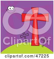 Clipart Illustration Of A Sun In A Purple Sky Shining On Crosses On A Hill