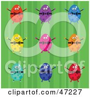 Clipart Illustration Of A Green Background With Colorful Easter Eggs by Prawny