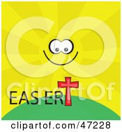 Clipart Illustration Of A Smiling Sun Over An Easter Cross On A Hill