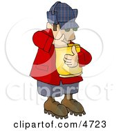 Hungry Woodsman Eating Food From A Bag Clipart