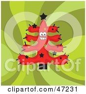 Clipart Illustration Of A Friendly Red Christmas Tree On A Retro Green Background by Prawny