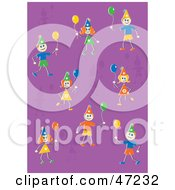 Clipart Illustration Of Happy Birthday Kids With Party Balloons On A Purple Background