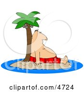 Poster, Art Print Of Man Resting Against A Palm Tree Ashore On A Deserted Island Or Coast