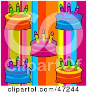 Clipart Illustration Of A Digital Collage Of Birthday Cakes On Rainbow Stripes by Prawny