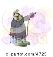 Man Spraying A PesticideInsecticide Chemical Substance Used To Kill Insects Clipart by djart