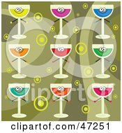 Clipart Illustration Of A Digital Collage Of Colorful Drinks On A Retro Circle Background by Prawny
