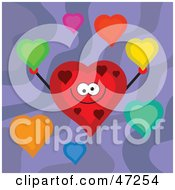 Clipart Illustration Of A Happy Red Heart Holding Up Colorful Hearts On A Purple Background